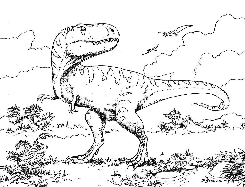 Тираннозавр и птерозавры  в лесу
