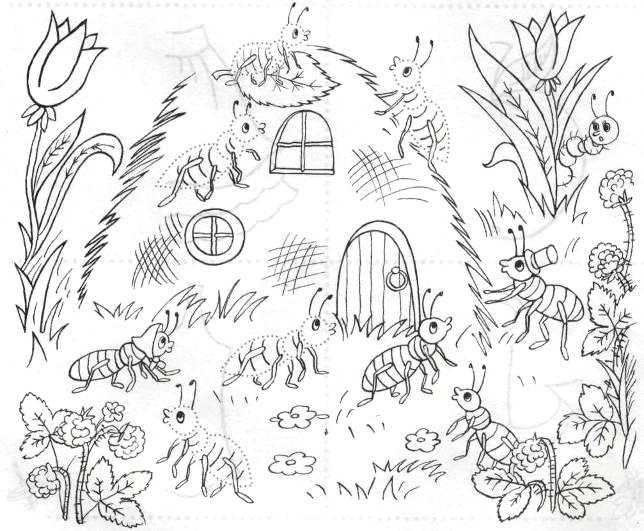 Обведи по точкам, муравейник, муравьи, ягоды. цветы