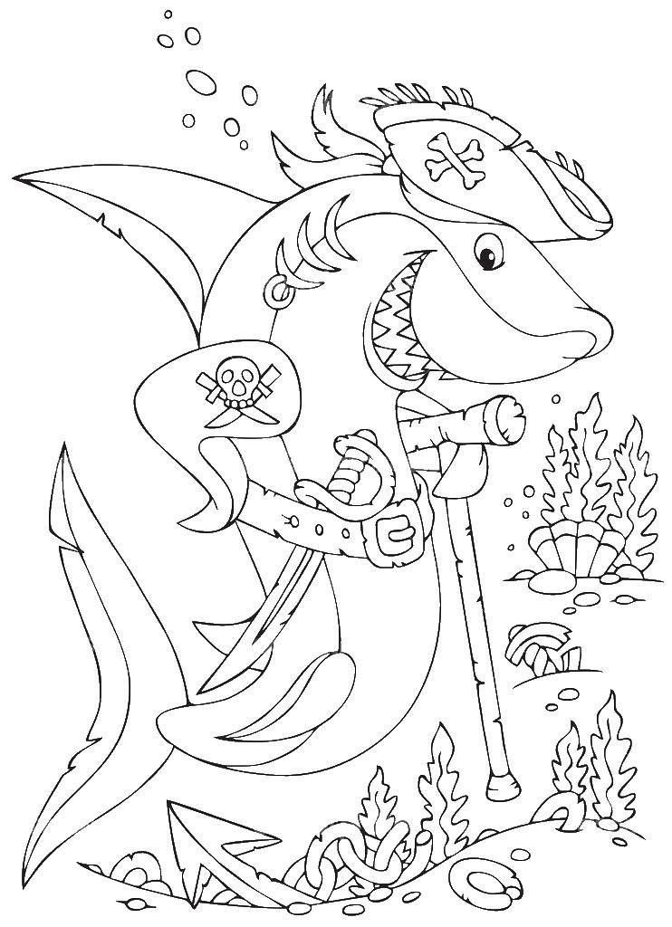 Акула пират с тростью
