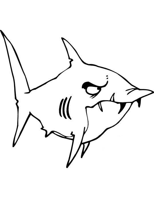 Злая акула с торчащими зубами