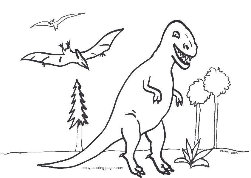 Тираннозавр и птеродактиль