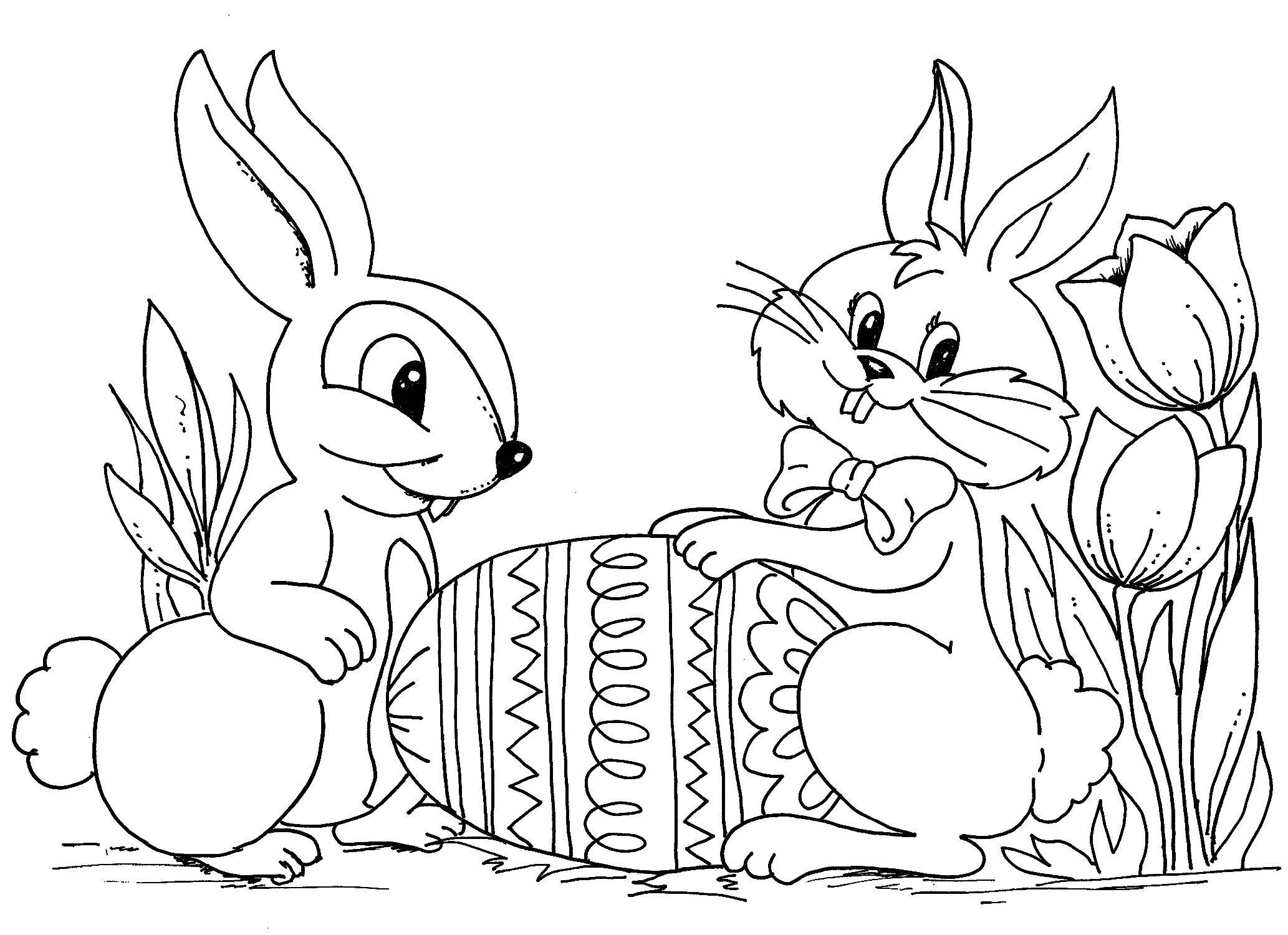 Раскраски зайчата и зайцы  Кролик, зайчик и пасхальное яйцо