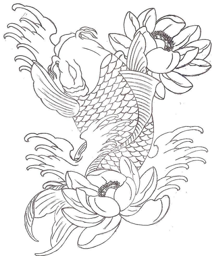 Карп и цветы