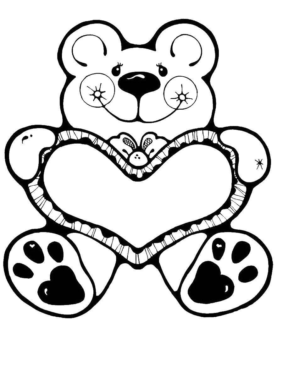 Раскраски медведь, медведица, медвежонок  Медвежонок с сердцем