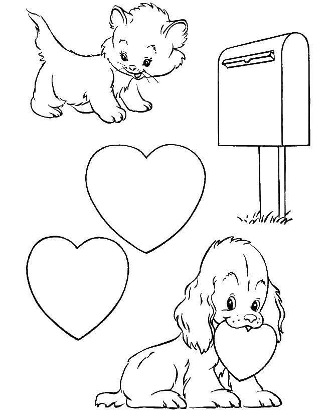 Влюбленные кошечка и пёсик