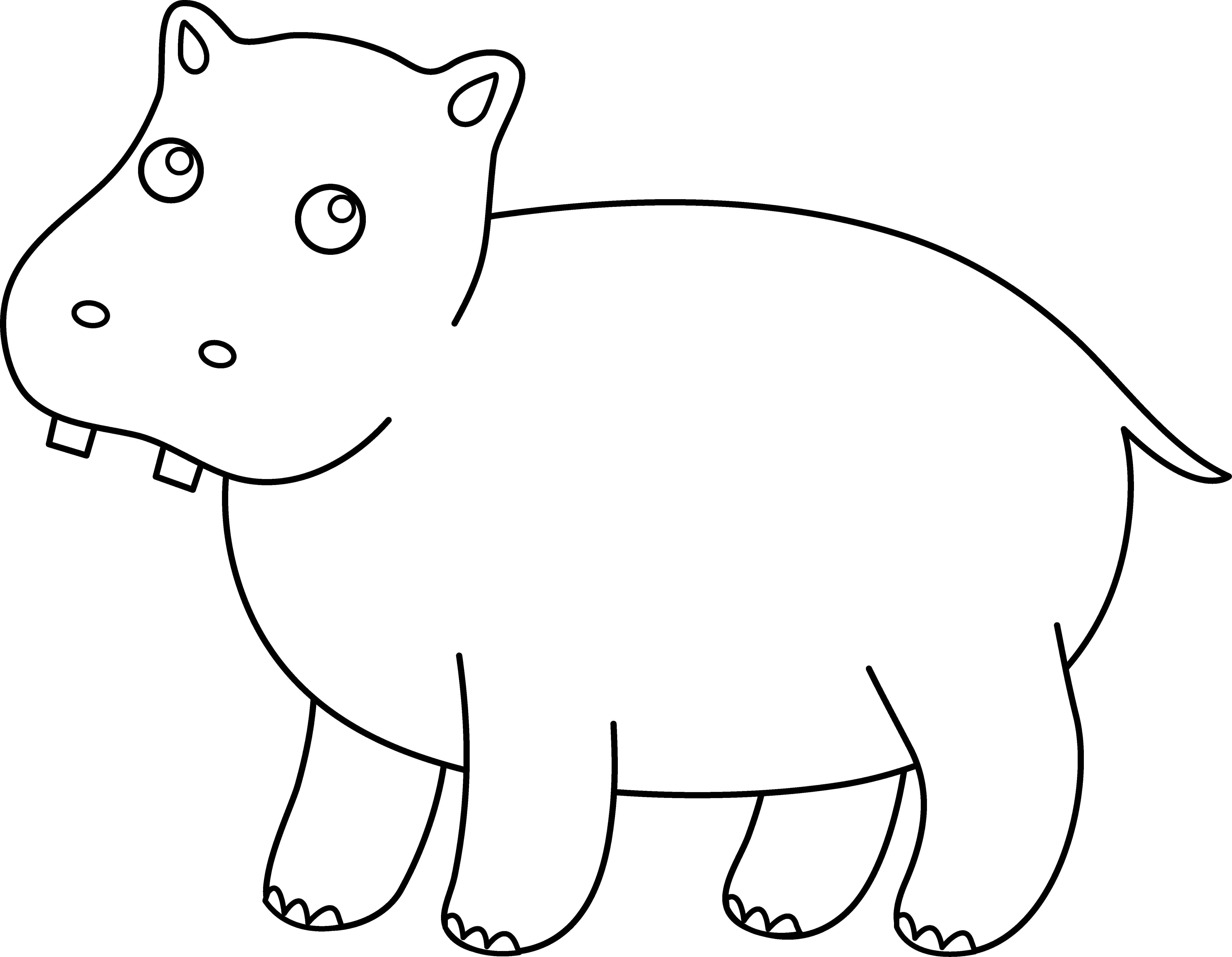 Раскраски бегемоты и гиппопотамы   Контру маленького бегемотика