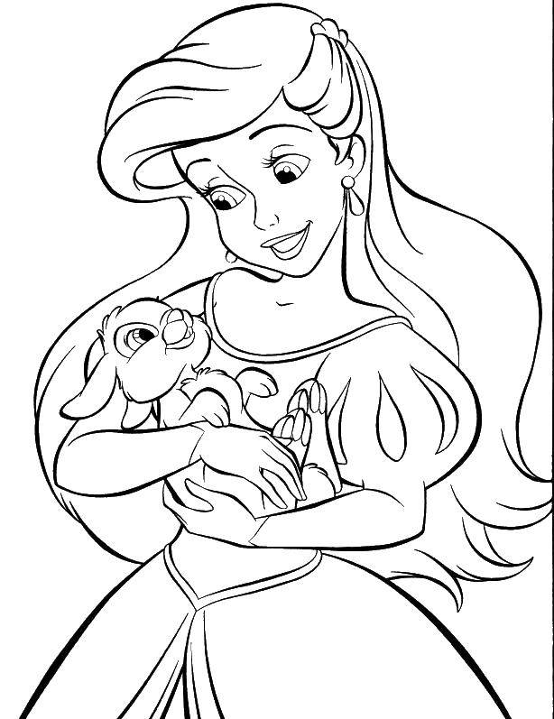 Раскраски зайчата и зайцы  Диснеевская принцесса держит зайчика