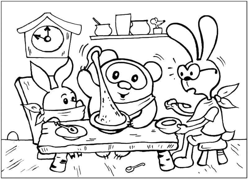 Раскраски зайцы  Винни пух и пятачок в гостях у зайца