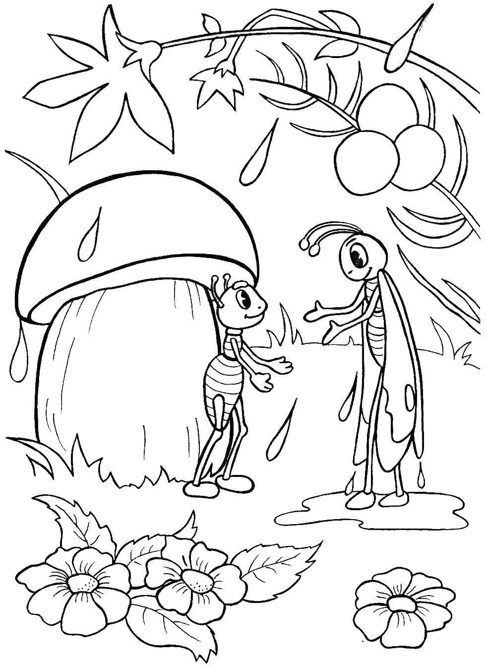 Муравьишка и кузнечик под грибом