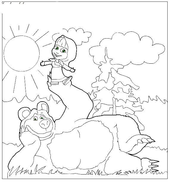 Раскраски медведь, медведица, медвежонок  Маша и медведь на природе