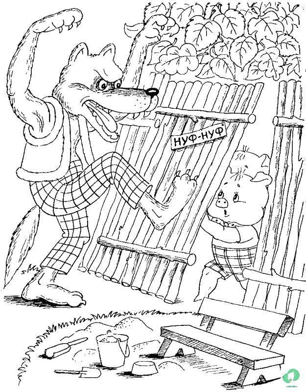 Волк ломится к поросенку домой