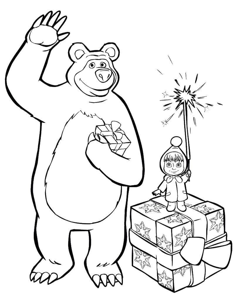 Раскраски медведь, медведица, медвежонок  Маша и миша с подарками