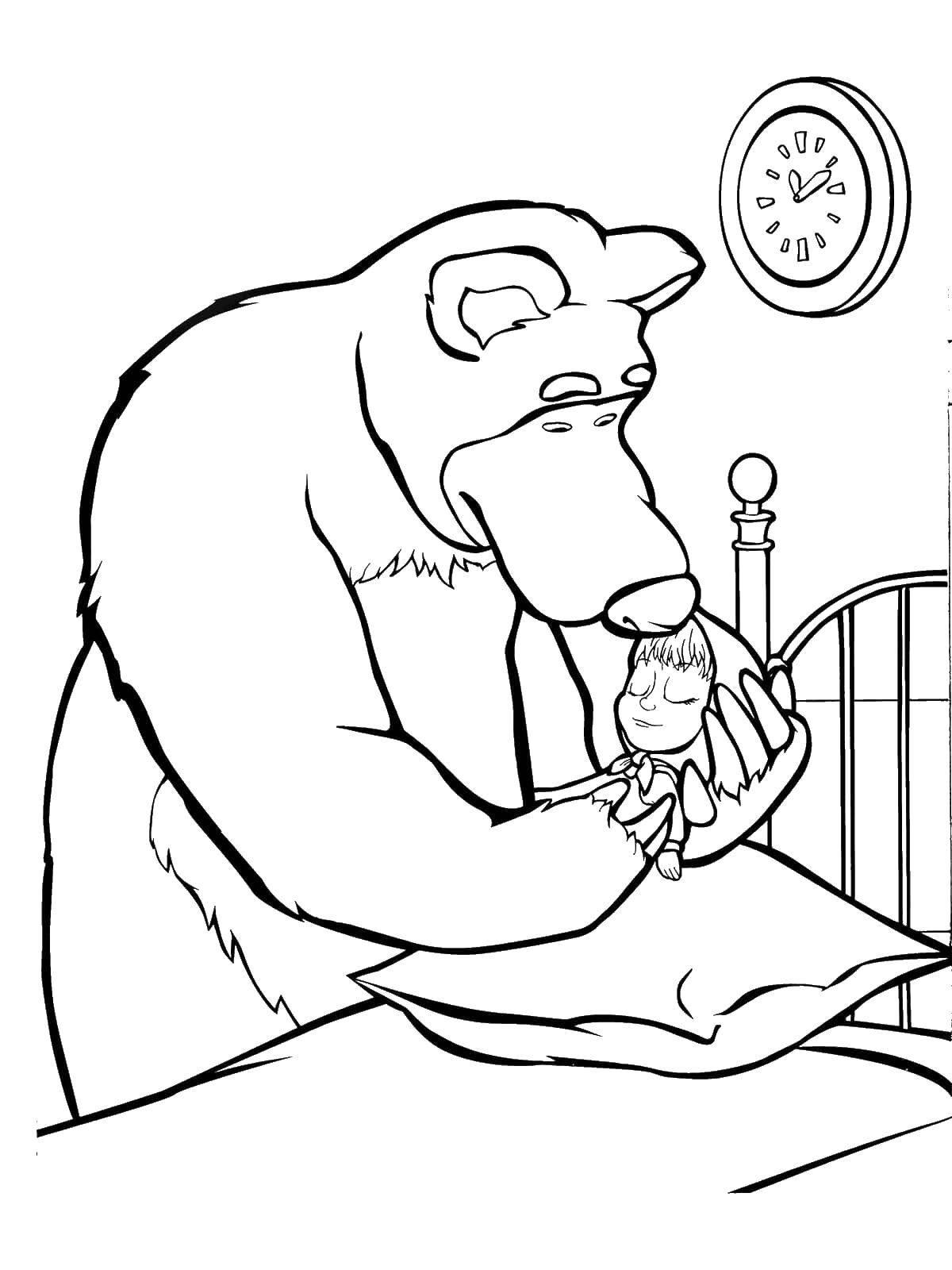 Раскраски медведь, медведица, медвежонок  Миша укладывает машу спать