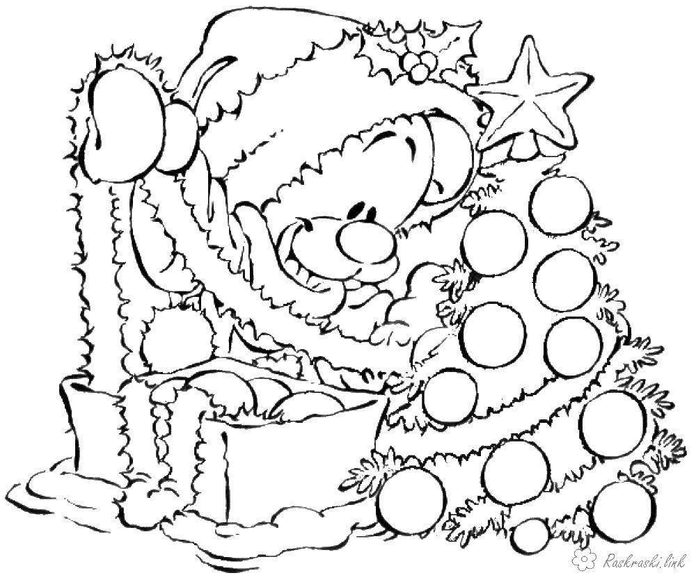 Раскраски мишки мишутки   Мишка наряжает елку