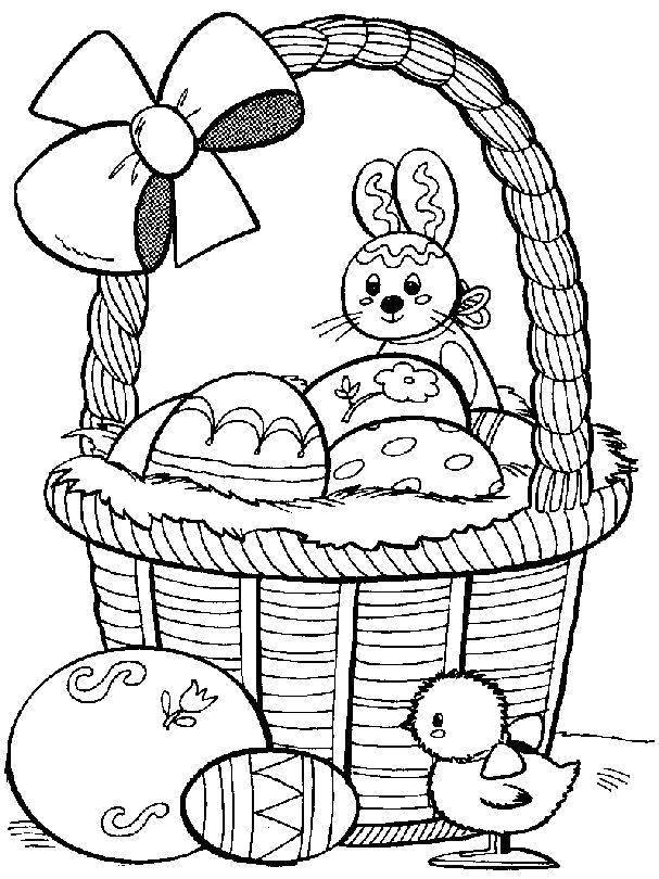 Раскраски зайчата и зайцы  Пасхальный зайчик и яйца