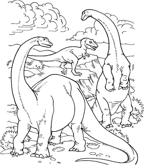 Тираннозавр рэкс и бронтозавры
