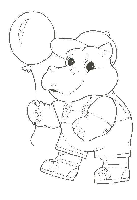 Раскраски бегемоты и гиппопотамы   Бегемотик с шариком