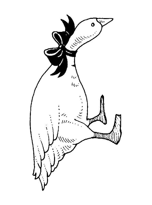 Раскраска с гусями  Гусь с бантом