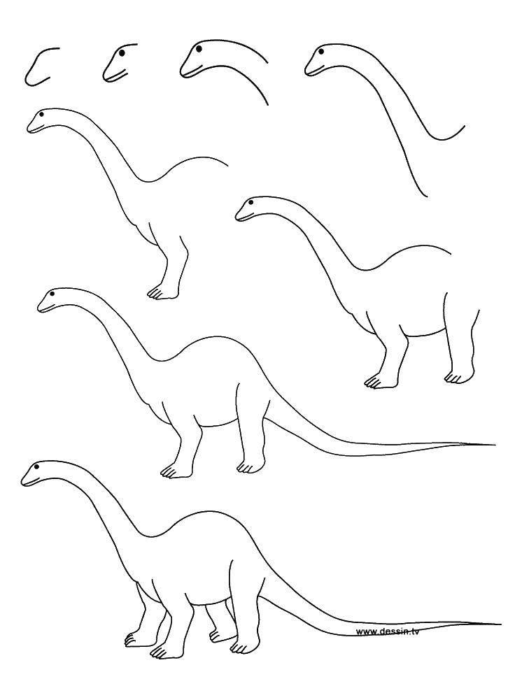 Поэтапно рисуем динозавра