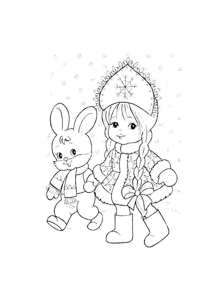 Раскраски зайчата и зайцы  Снегурочка с зайчиком