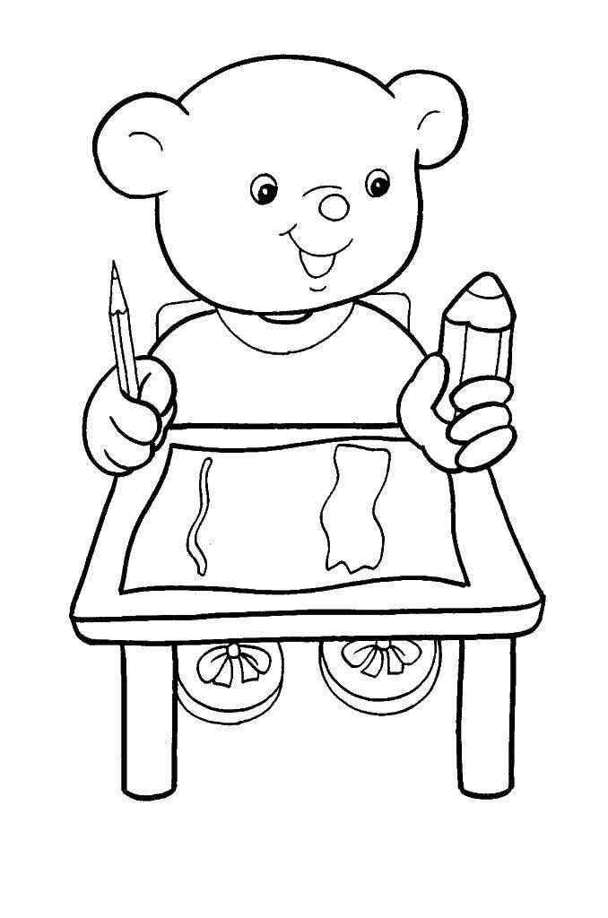Раскраски мишки мишутки   Мишка за столом с карандашами