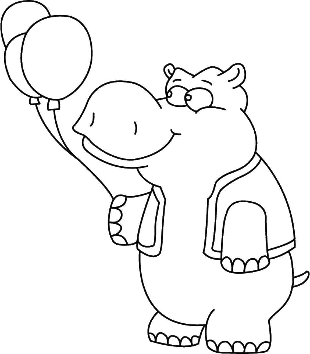 Раскраски бегемоты и гиппопотамы   Бегемот с шариками