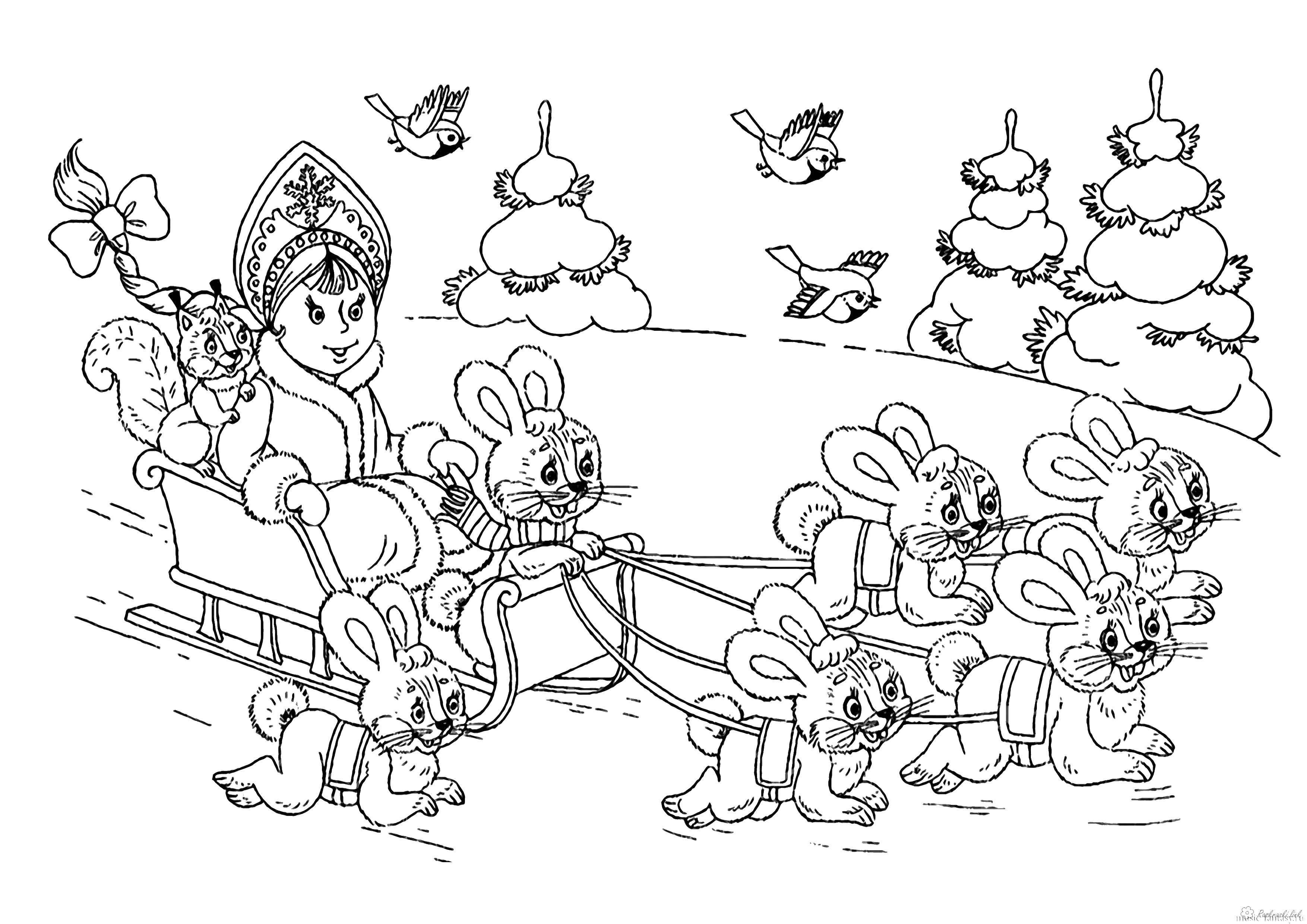 Раскраски зайцы  Снегурочка на саночках с зайцами