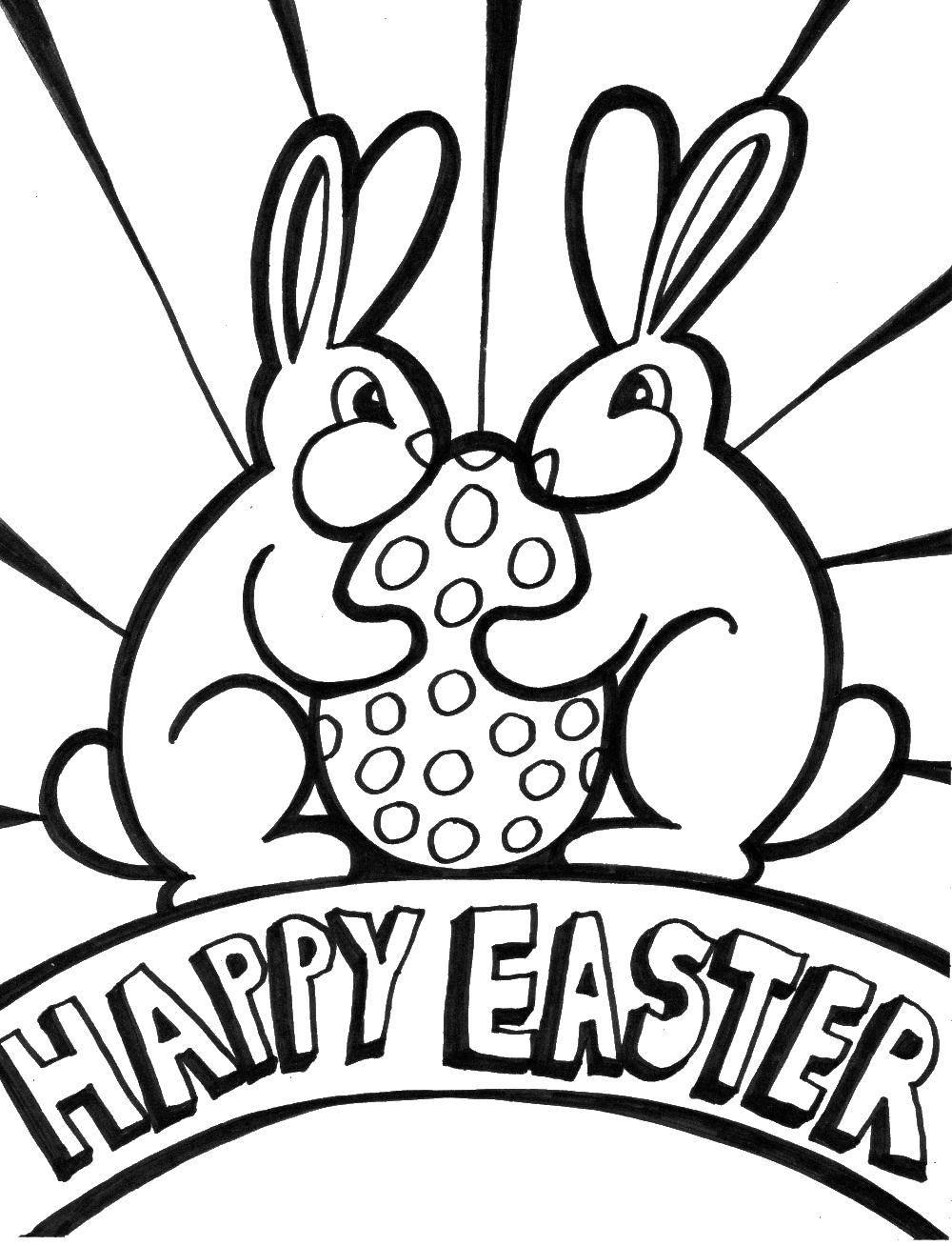 Раскраски зайцы  Зайцы с пасхальным яйцом