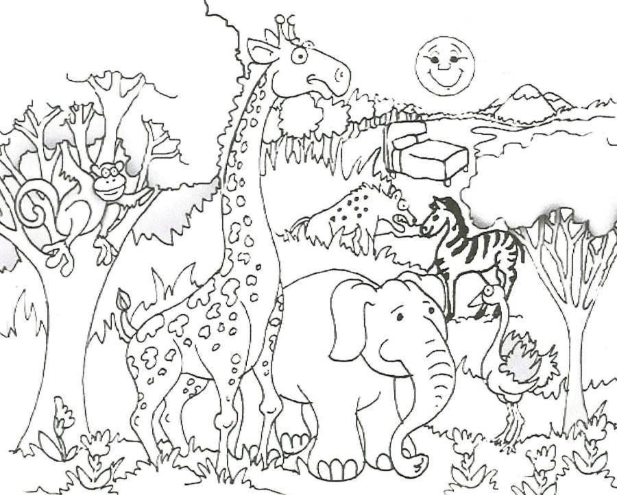 Обезьяна, жираф, слон, страус, зебра и гиена гуляют в лесу