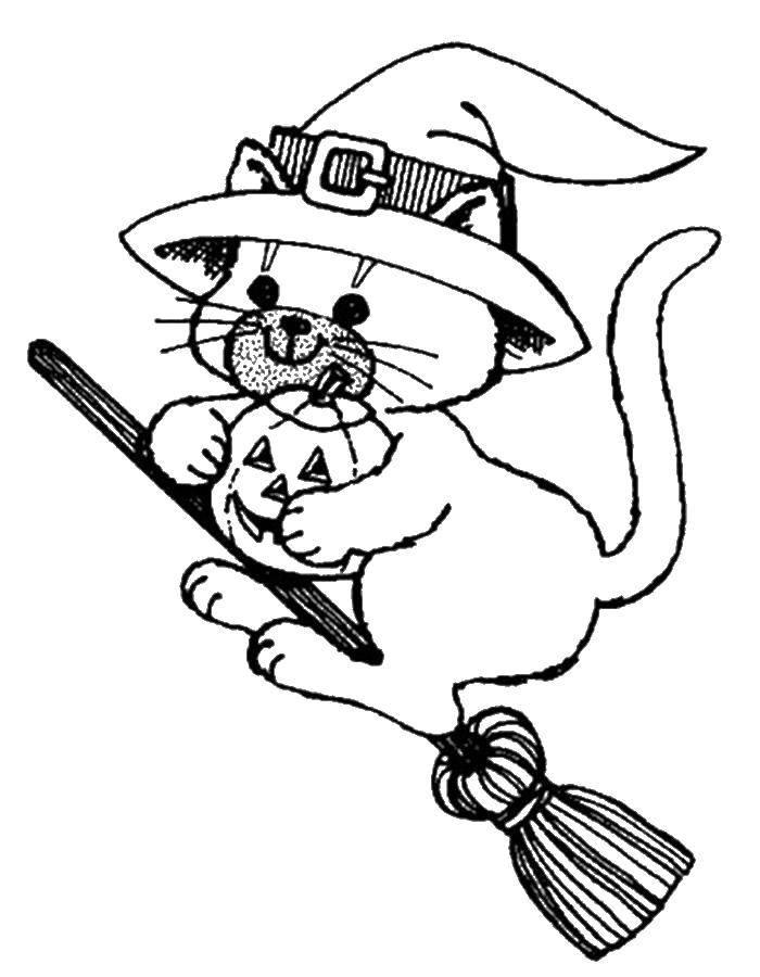 Кошка ведьма на хэллоуин на метле