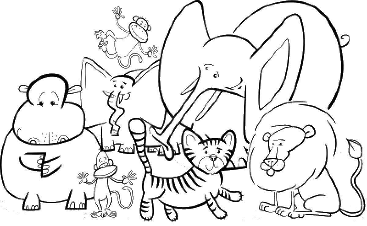 Различные звери: тигр, лев, слоны, обезьяны, бегемот