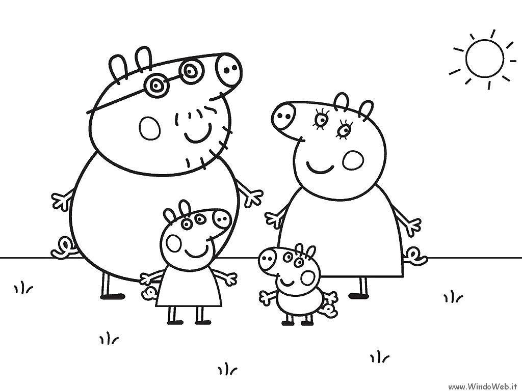 Семья свинки пеппы на солнышке