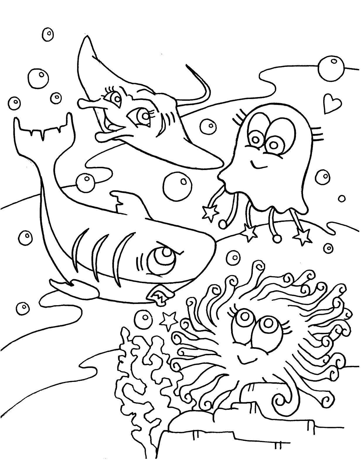 Осьминог, акула, медуза и скат играют под водой