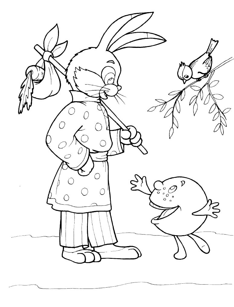 Раскраски зайцы, зайчиха, зайчонок  Раскраска колобок и заяц. раскраска раскраски из колобка, русская сказка колобок, картинка колобок, разукрашки для детей