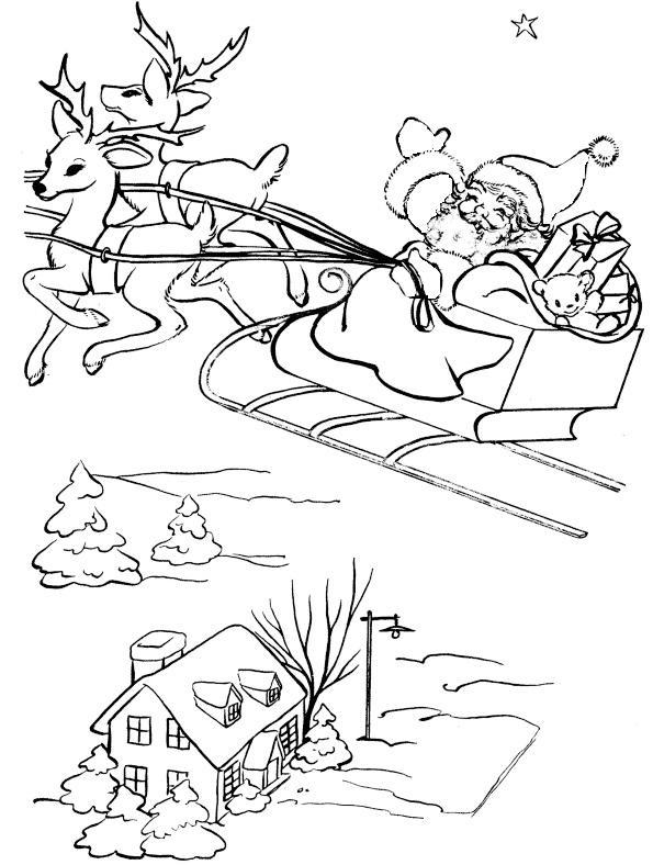 Дед сороз летит над городом в оленьей упряжке