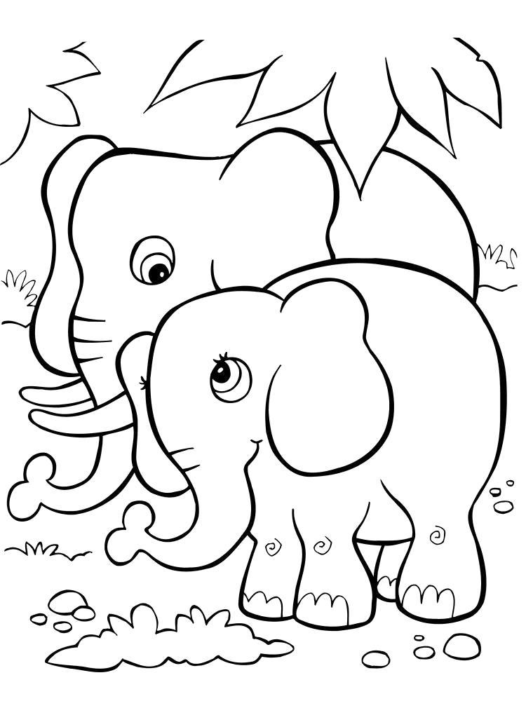 Раскраска слонята