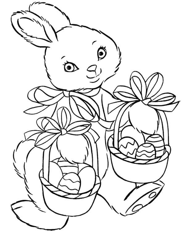 Раскраски зайцы, зайчиха, зайчонок  Заяц с корзиной