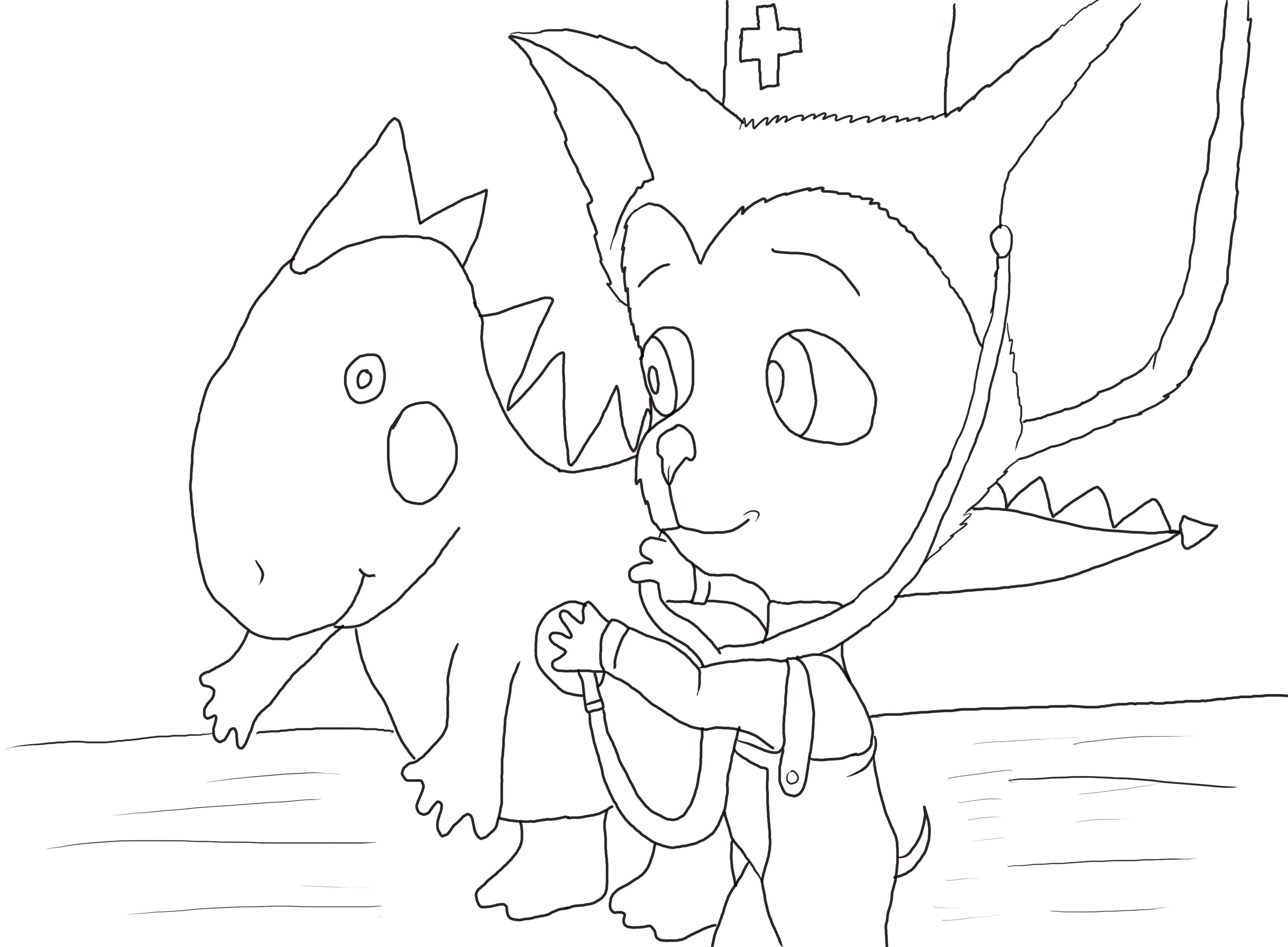 Малыш играется с динозавриком