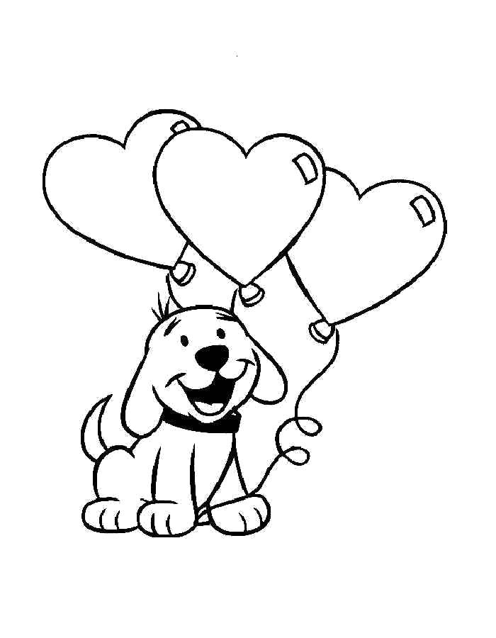 Раскраска День Святого Валентина, собачка с воздушными сердечками