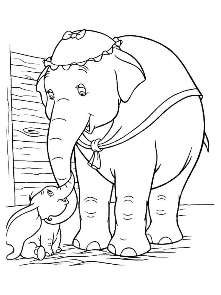 Раскраска слон. Дамбо