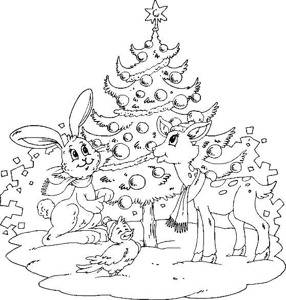 олененок и зайчик у елки