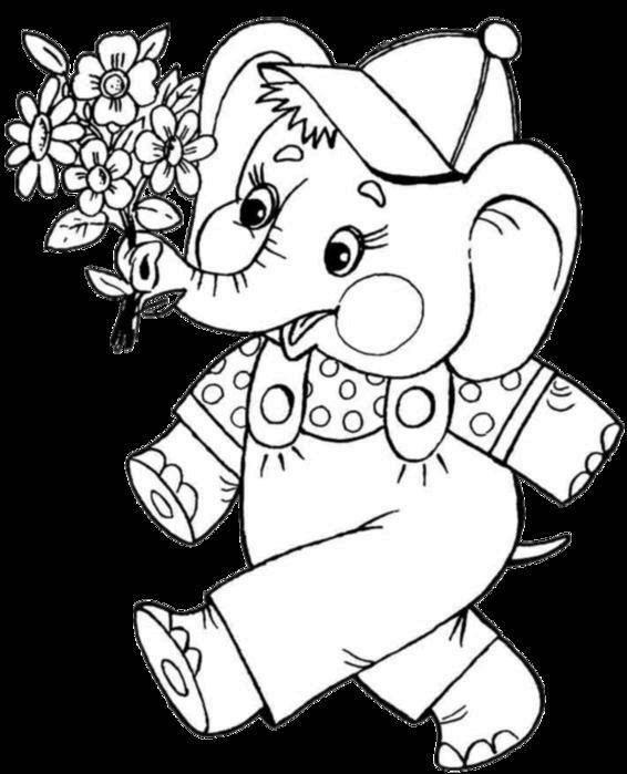 Рисунок слоненок с цветком
