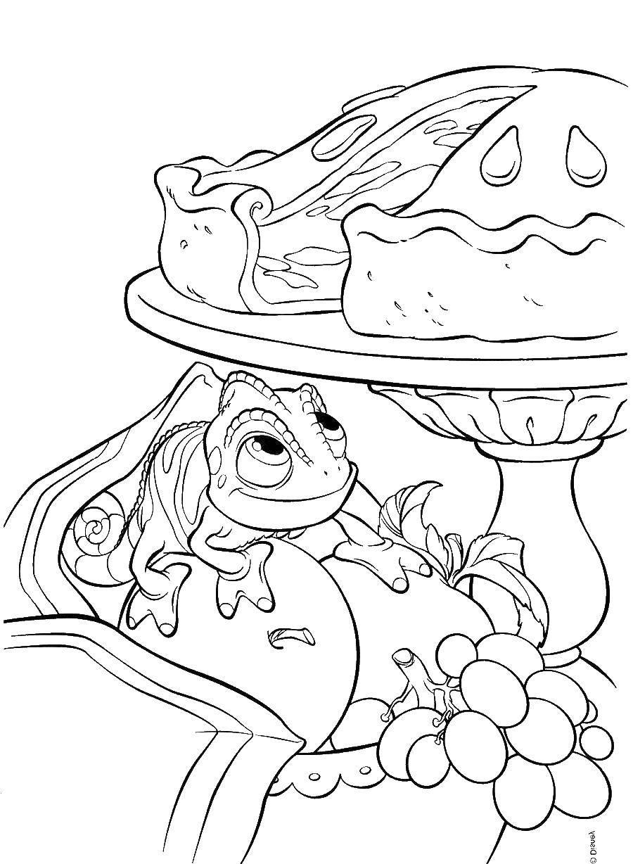 Раскраски ящерица  Ящерица хочет пирог