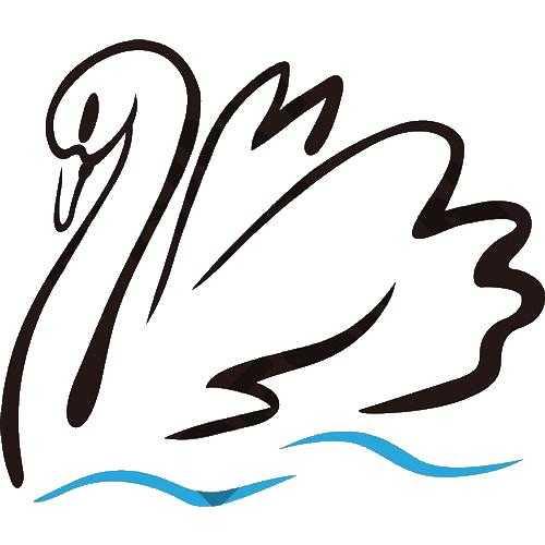 Лебедь плывет по волнам