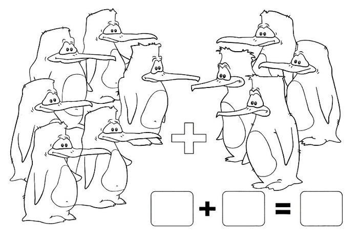 Примеры с раскрасками пингвины