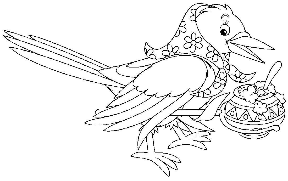 Раскраски птица сорока